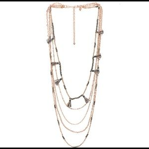 Rebecca Minkoff Rose Gold Layered Tassel Necklace